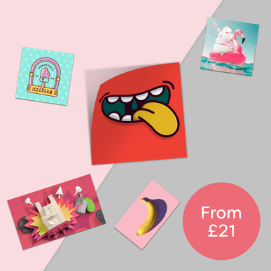 Five colourful stickers printed by Hatch on a two tone pink background with a circle next to it with words 'from £21' inside