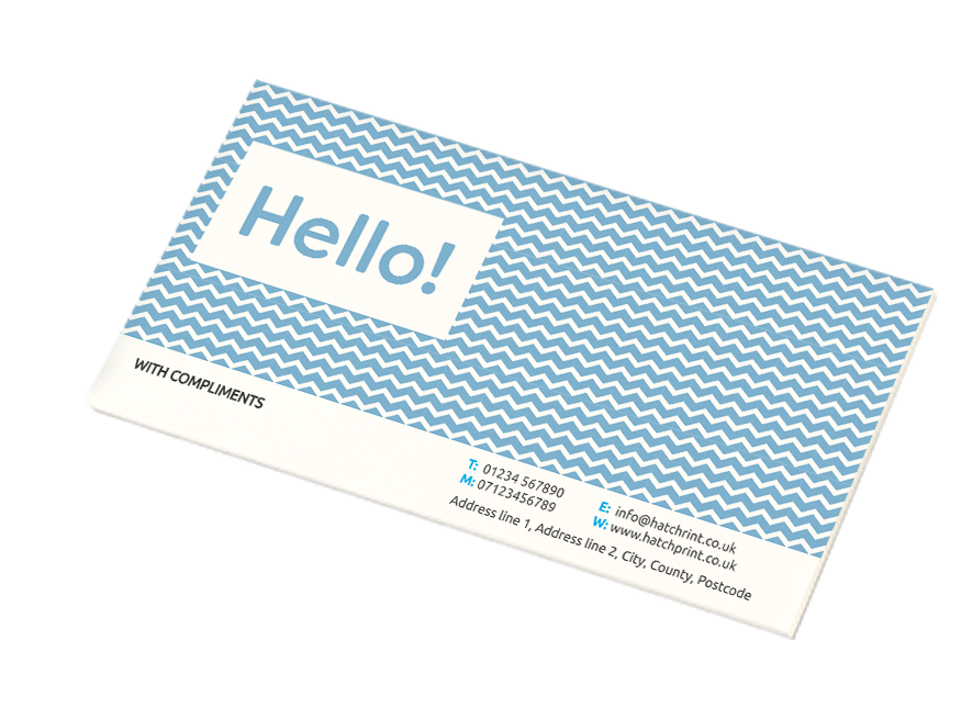 Compliment slip with blue and white design, a product offered by Hatch
