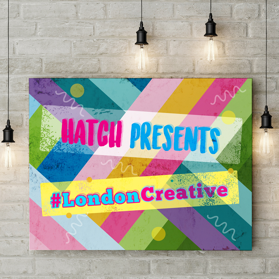 Colourful print presenting Hatch competition #LondonCreative – design your own business card and enter today on our website.