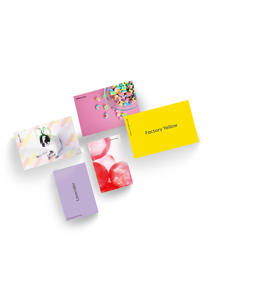 Selection of 5 samples of business cards. 1 yellow, 1 lavender, 1 with red bubbles, 1 pink with a bowl of sweets and 1 featuring a dog. Representing sample packs Hatch offers free of charge.