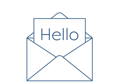 A large white, opened envelope with a card poking out the top which says 'Hello'. This represents the third stage of the design and order process with Hatch: create an online account with Hatch.