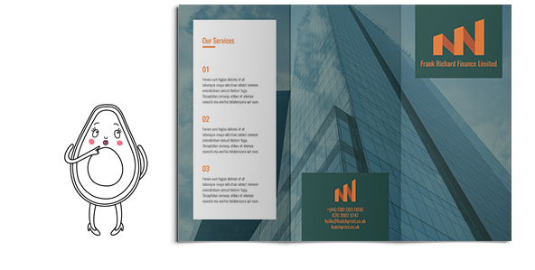 An opened 3-fold leaflet with a large blue skyscraper and example information for a business. Design and buy on Hatch today