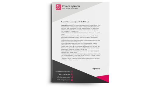 letterhead with black and pink design, representing Hatch's letterhead printing services
