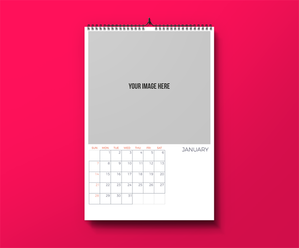 Picture of Standard & Professional - Wall Calendar Template - Just Add Your Pictures
