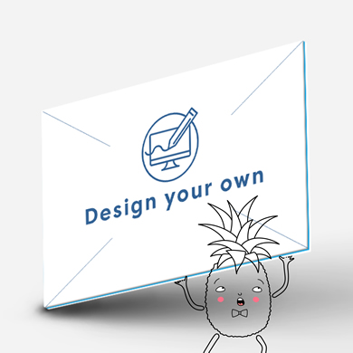 White Hatch card with a circle containing a computer screen being drawn on by a pencil and 'Design your own' written below.