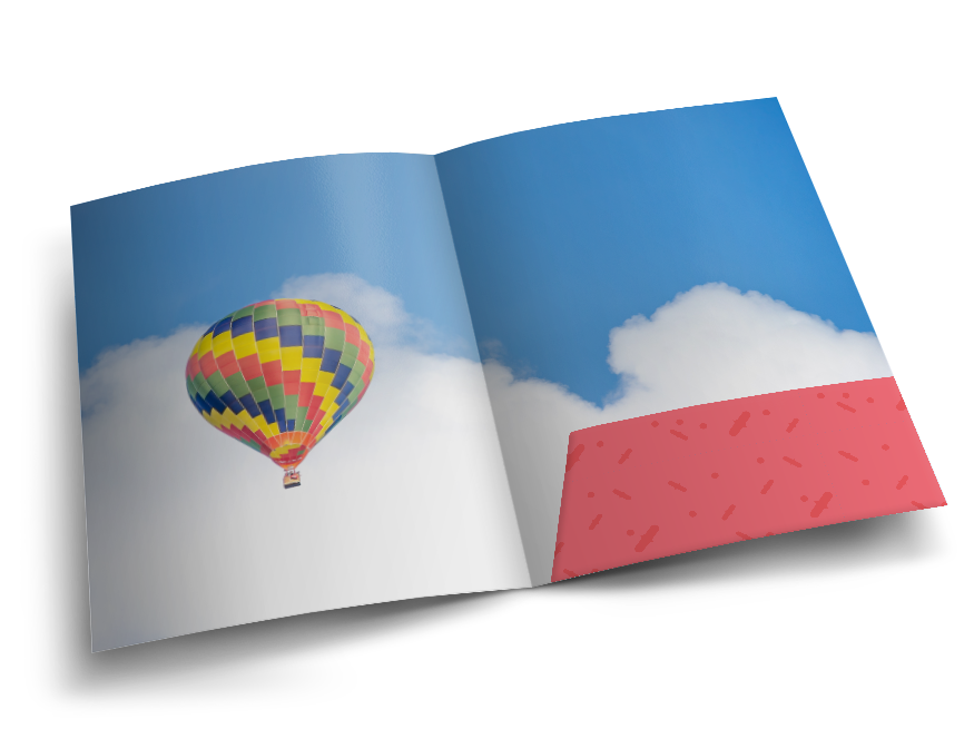 Open paper folder with the image of a multi-coloured balloon on a sky printed on it. Hatch offers presentation folder printing services.