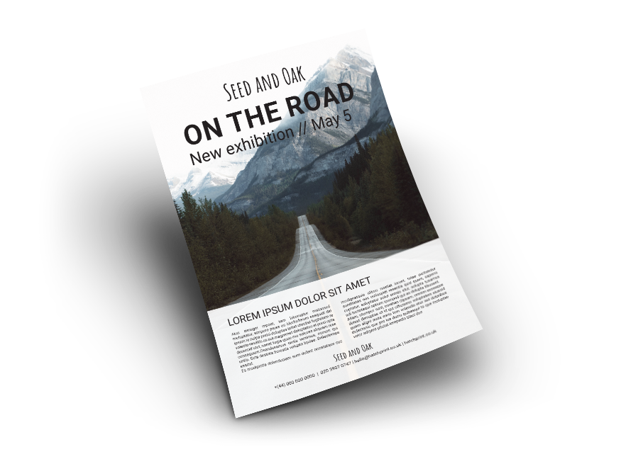 Flyer featuring image of straight road, with dashed yellow line in the middle, heading towards mountains. 'Seed and oak, on the road' written at the top in black text. Additional text, in black with a white background, mentions information about photographic exhibibition. A flyer template offered by Hatch.