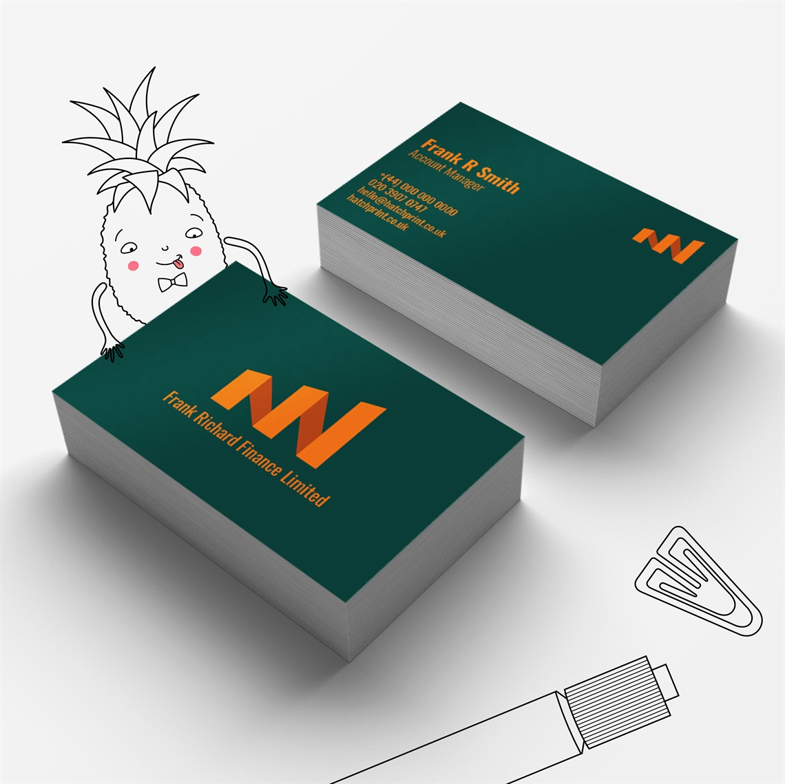 Hatch-Show your Worth: business card template for the finance industry