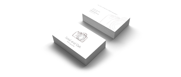 Animation representing production of Luxe line of business cards. Blue paper are pressed in the middle of two white sheets, forming a coloured seam.