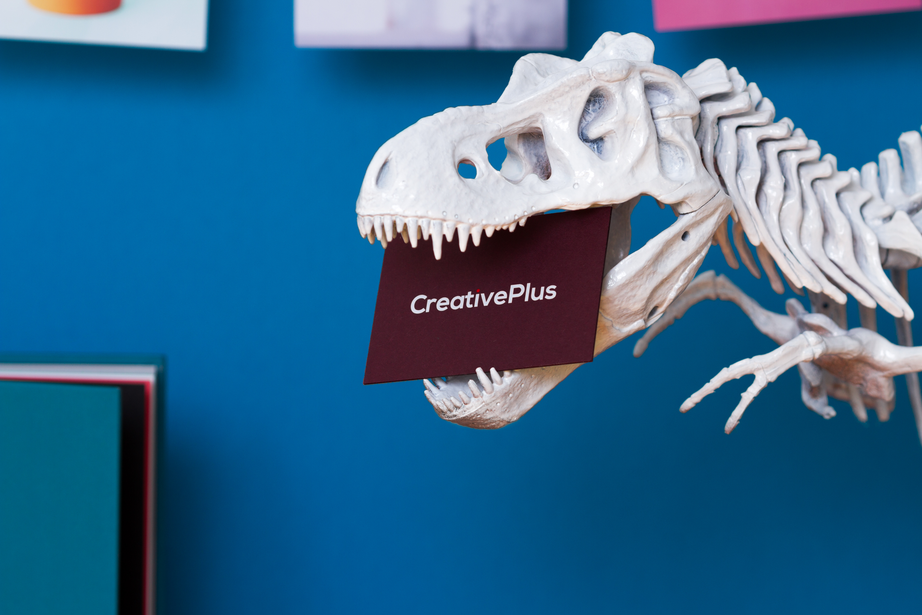 Dinosaur skeleton biting a business card, representing bespoke printing services offered by Hatch