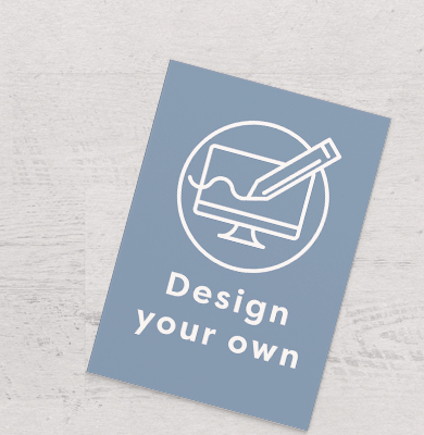 Blue poster with a circle containing a computer screen being drawn on by a pencil and 'Design your own' written below. Design with Hatch.
