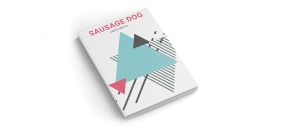 Example brochure featuring green, black and red geometric shapes. 'Sausage dog, digital agency' is written in red and black text at the top of the page. This case-bound brochure represents the high quality printing and binding services offered by Hatch.