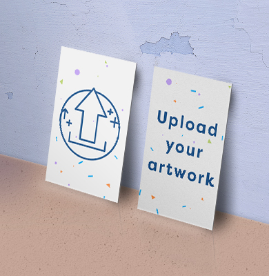 Front of a white card with an arrow within a circle, back of cards says 'Upload your artwork'. Upload your artwork on Hatch.