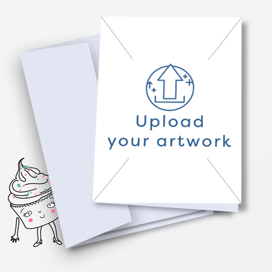Opened white envelope with a pink card inside, with an arrow in a circle with 'Upload your artwork' written below. Buy now on Hatch.