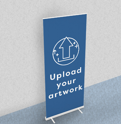 Blue roller-banner with an arrow within a circle with 'Upload your artwork' written below. Buy now on Hatch.