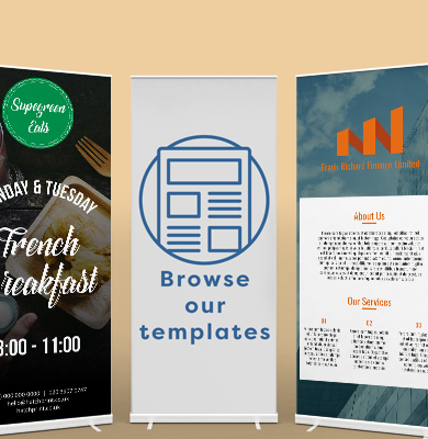 A selection of roller-banner templates of different colours and designs. Browse template ideas on Hatch. Design and buy now.