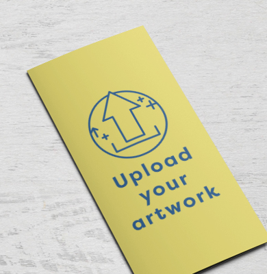 Yellow folded leaflet with an arrow within a circle with 'Upload your artwork' below. Upload your artwork on Hatch. Buy today.