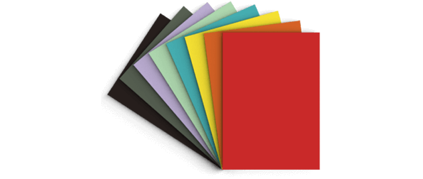 Different colours of paper sheets on a fan format. Representing 540gsm GF Smith line of business cards from Hatch. For your business cards, print CMYK or white ink on coloured paper.