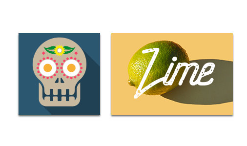 Two stickers, one with a sugar skull image and the other with a lime image, representing Hatch's sticker printing services