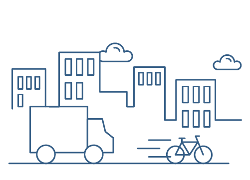 A city skyline drawn in blue with a road with an outlined van and bicycle. This represents the second stage of the ordering process with Hatch, select your preferred delivery method.