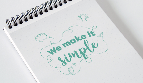 Notepad with copy 'we make it simple' in green. Representing Hatch's goal to simplify the ordering process for printed materials.