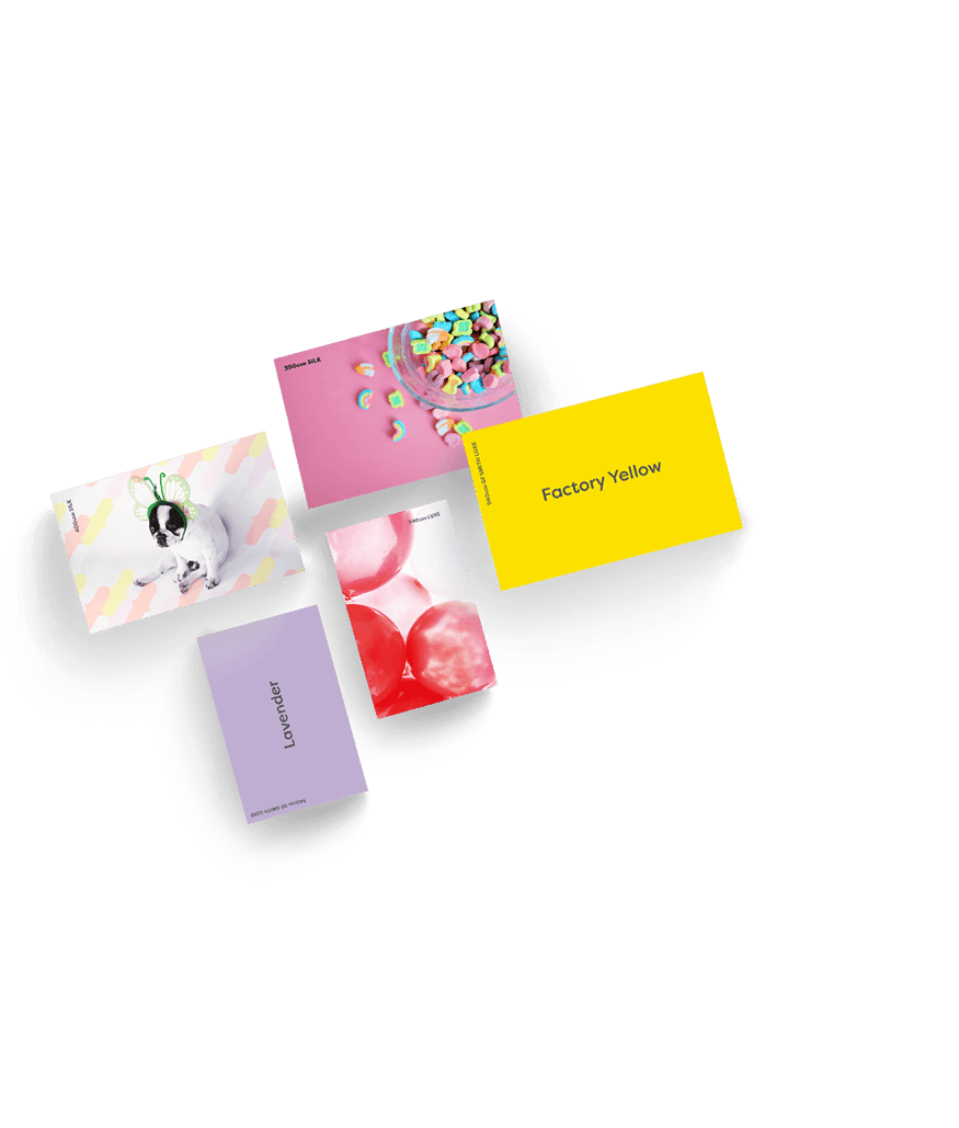 Selection of 5 samples of business cards. 1 yellow, 1 lavender, 1 with red bubbles, 1 pink with a bowl of sweets and 1 featuring a dog. Representing sample packs Hatch offers free of charge