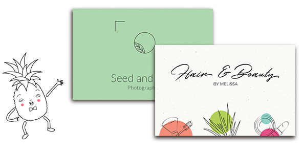 Banner with different business card designs. Words in the middle read 'Business Cards. Hand out beautifully printed business cards.'