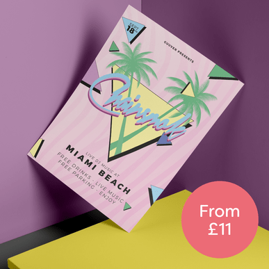 A colourful flyer printed by Hatch and a circle next to it with words 'from £11' inside