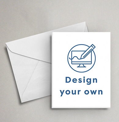 White envelope and card with a circle containing a computer screen being drawn on by a pencil and 'Design your own' below. Design with Hatch.